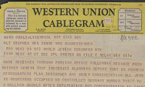 Riegner Telegram Alerts World Of Nazi Holocaust