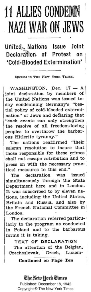 NYT: 11 Allies Condemn Nazi War On Jews